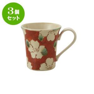 3個セット マグカップ 和食器 / 赤濃山茶花 ペコマグ 寸法:12 X 8.5 X 9.5cm 270cc 日本製 国産 setomono-honpo