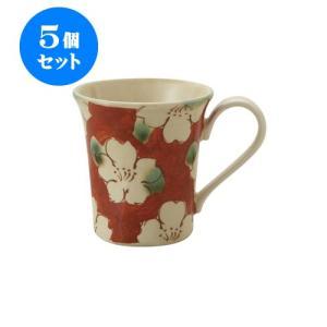 5個セット マグカップ 和食器 / 赤濃山茶花 ペコマグ 寸法:12 X 8.5 X 9.5cm 270cc 日本製 国産 setomono-honpo