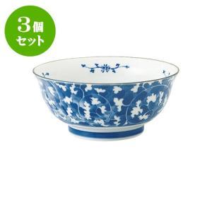 3個セット 麺鉢 和食器 / だみ唐草 めん鉢 寸法:直径18.5 X 8cm 日本製 国産|setomono-honpo