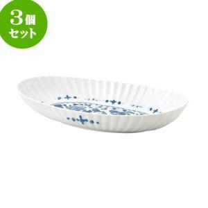 3個セット 大鉢 和食器 / 見込唐草 Y菊割楕円九〇鉢 寸法:30 X 15.5 X 5.5cm 日本製 国産 setomono-honpo