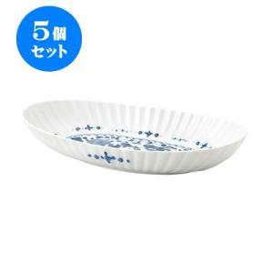 5個セット 大鉢 和食器 / 見込唐草 Y菊割楕円九〇鉢 寸法:30 X 15.5 X 5.5cm 日本製 国産 setomono-honpo