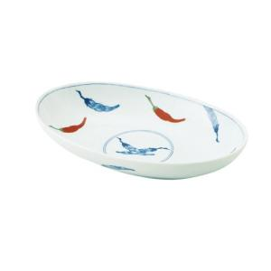 大鉢 和食器 / 錦唐辛子 耳無楕円大鉢 寸法:26 X 16 X 5cm 日本製 国産 setomono-honpo
