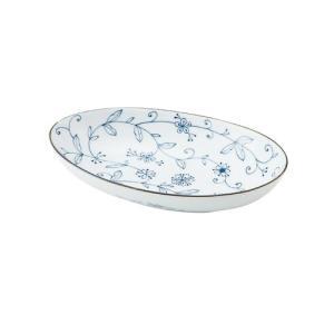 大鉢 和食器 / 線唐草 耳無楕円大鉢 寸法:26 X 16 X 5cm 日本製 国産 setomono-honpo