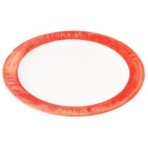 丸盛皿 和食器 / (強)朱巻(リム付) 8.5丸皿 寸法: Φ26 x H2.5cm 750g|setomono-honpo