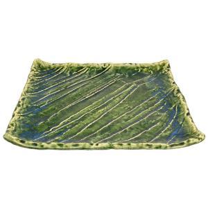 大皿 和食器 / 織部(ソギ彫)角形大皿 寸法: 30.5 x 30.5 x H3.5cm 1740g|setomono-honpo