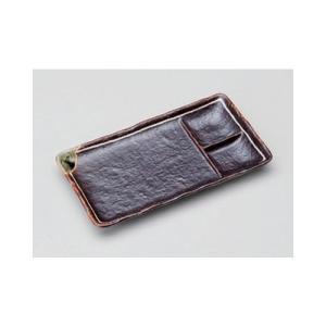 和食器 / 仕切皿 鉄釉一珍ライン串皿 寸法:22 x 12 x 2.5cm