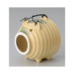 和食器 / 蚊取り器 イラボ豚(萬古焼) 寸法:13.5 x 13.5 x 16.5cm setomono-honpo
