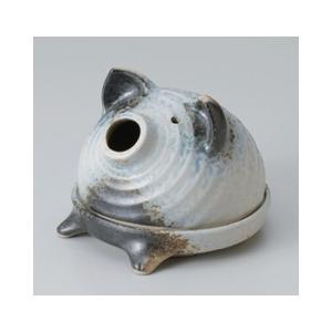 和食器 / 蚊取り器 備前風おすわり豚(萬古焼) 寸法:16 x 16 x 14cm setomono-honpo