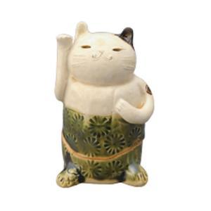 織部印花 招き猫 香炉 [ H11cm ] 【 香炉 】 | HANDMADE 置物 インテリア ギフト プレゼント|setomono-honpo