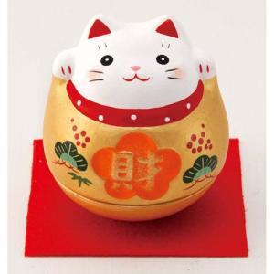 招き猫 錦彩おきあがり金福招き猫(財)|setomono-honpo