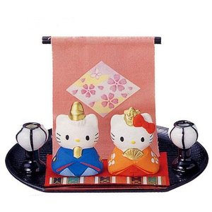 【雛人形/ひな人形】<br>ハローキティ 雛祭りセット(陶器)