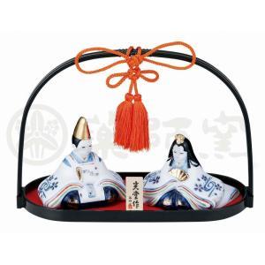 染錦 手籠雛 大手籠付 出産祝 陶器 桃の節句 雛祭 内祝 誕生日 お雛様 お雛さま おひな様 雛人形 ひな人形