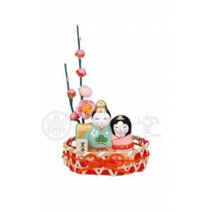 錦彩 睦立雛 竹籠付 クリスタル ガラス 出産祝 陶器 桃の節句 雛祭 内祝 誕生日 お雛様 お雛さま おひな様 雛人形 ひな人形