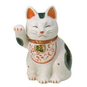 【招き猫】陶彩万福唐草招き猫<br>右手上げ・中(材質/磁器)