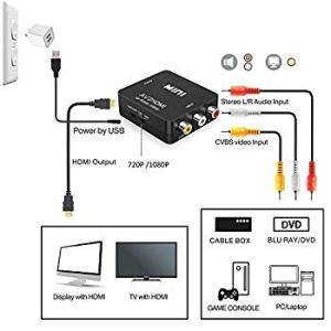 RCA to HDMI変換コンバーター GANA AV to HDMI 変換器 AV2HDMI USBケーブル付き 音声転送 1080/72|settaroponpon