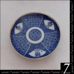骨董◆◆印番手 扇面図◆◆13cm 小皿 取皿◆◆8枚組 和食器【中古】|seven-77