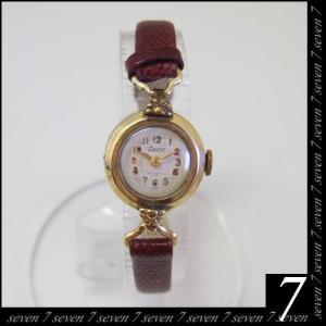 FXACTUS●K18 17石 手巻き 腕時計●アンティークウォッチ レディース●ボルドー ベルト●小型 円形 上品●スイス製【送料無料】|seven777