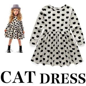 ベビー キッズ トップス 子供 ドレス ワンピース アウター 猫 cat キャット 長袖