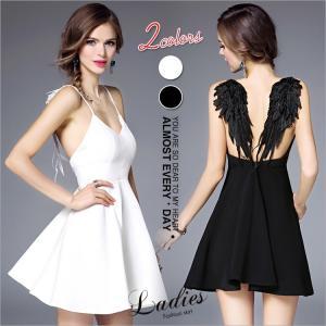 ワンピース レディース ノースリーブ  バックレスドレス くすぐる 吊りスカート 天使の翼 イブニングドレス 送料無料スリム |sevencats