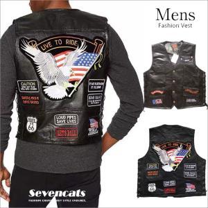 レザーベスト メンズ ベスト 革ベスト ジレベスト 刺繍 ジャケット アウター カジュアルベスト バイク ライダースベスト 大きいサイズ 秋 新品 送料無料|sevencats