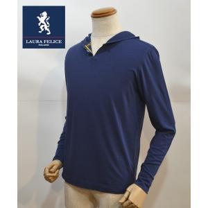 35%OFFセール ラウラフェリーチェ メンズ 長袖 Tシャツ 紺ネイビー パーカー 無地 メンズ服 日本製|sevenebisu-net