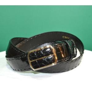 紳士 メンズ ベルト 本革 クロコダイル ワニ革 日本製 belt-cro02 (お取り寄せ商品)|sevenebisu-net