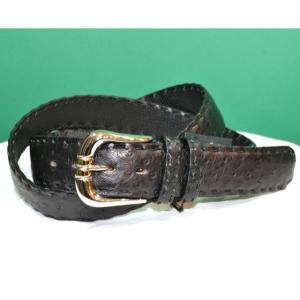 紳士 メンズ ベルト 本革 オーストリッチ ダチョウ革 黒 日本製 belt-ost03 (お取り寄せ商品)|sevenebisu-net
