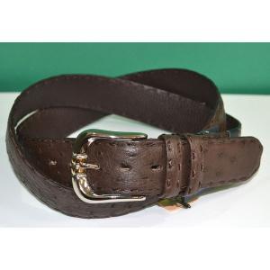 紳士 メンズ ベルト 本革 オーストリッチ ダチョウ革 茶 ブラウン 日本製 belt-ost05 (お取り寄せ商品)|sevenebisu-net