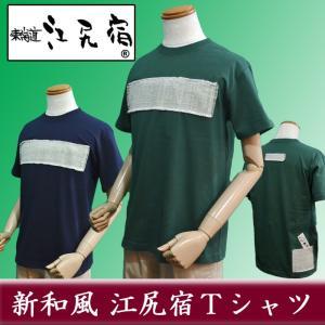 オリジナルTシャツ 東海道 江尻宿Tシャツ メンズ あやかり布 風土綿 グリーン 草木染 和風 和柄 前後3ポケット II型|sevenebisu-net