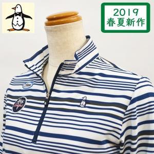 マンシングウェア レディース ポロシャツ 紺 ボーダー 長袖 2019春夏 ゴルフウェア MGWNJB01X|sevenebisu-net