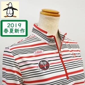 マンシングウェア レディース ポロシャツ 赤 ボーダー 長袖 2019春夏 ゴルフウェア MGWNJB01X|sevenebisu-net