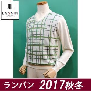 (新作セール20%OFF) ランバン スポール メンズ セーター Vネック 白 ゴルフウェア 2017秋冬 新作 VMK4052b3|sevenebisu-net