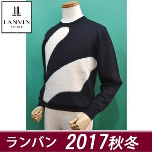 (新作セール20%OFF) ランバン スポール メンズ セーター 丸首 濃紺 ゴルフウェア 2017秋冬 新作 VMK4063b9 日本製|sevenebisu-net