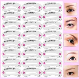 眉毛テンプレート 24枚セット 太眉対応  アイブロー 眉毛を気分で使い分け 眉用ステンシル