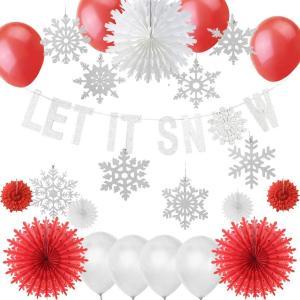 Easy Joy クリスマス 飾り付けセット オーナメント グリターガーランド クリスマスツリー ペーパーファン 雪花 バルーン 手作り装飾 インテリア 写真背景 (03)