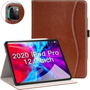 Ztotop iPad Pro 12.9 2020 ケース ビジネス風 オートスリープ機能 ペンシル収納 カードポケット付き MDM(ブラウン)|sevenleaf
