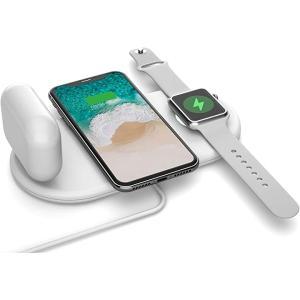 Vissles ワイヤレス充電器 充電スタンド Qi 急速充電 5W/10W 3in1 Pro・Apple Watch対応 MDM(ホワイト)|sevenleaf
