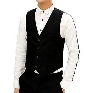 ベスト ジレ フォーマル ビジネス スーツ スリム メンズ ポケット カジュアル 無地 結婚式(ブラック, XL) sevenleaf