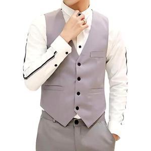 ベスト ジレ フォーマル ビジネス スーツ スリム メンズ ポケット カジュアル 無地 結婚式(グレー, L) sevenleaf