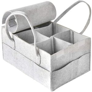 おむつストッカー ベビー用品収納 おむつバッグ 折りたたみ 収納ボックス 小物入れ 収納ケース 出産祝い プレゼント(グレー ふた付き)