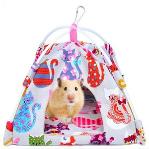 ハムスター ハウス テント ハンモック 吊り下げ式 ベッド おうち 寝床 部屋 インコ キャンパス生地(子猫柄, Sサイズ)|sevenleaf