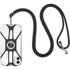 最新版 スマホストラップ ,iPhone 首掛け/斜め掛け 4-6.5インチのスマホに対応 スマートフォン落下防止(ブラック, 汎用)|sevenleaf