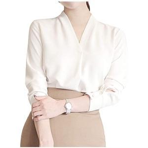 スキッパー ブラウス トップス オフィスカジュアル ノーカラー 綺麗目 白 グレー 灰色 2カラー 長袖 なが袖 春秋(ホワイト, L)|sevenleaf