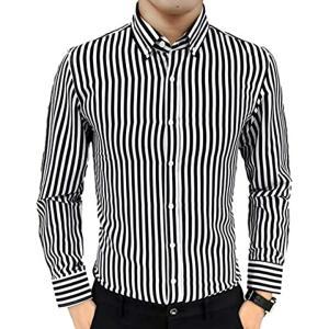 ナガポNAGAPO メンズ シャツ ボタン ダウン カジュアル ワイシャツ ビジネス 長袖 ストライプ 柄(ブラック, 3XL)|sevenleaf
