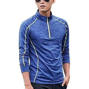 Happy Honu ハッピーホヌ トレッキング シャツ 長袖 ハーフジップ 大きいサイズ ランニング スポーツ ゴルフ メンズ[ブルー][XL] sevenleaf