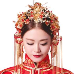 アイルポドレスや漢服を 美しく彩る ゴールド ヘッドドレス MDM(パールの赤い髪飾りピアスセット) sevenleaf