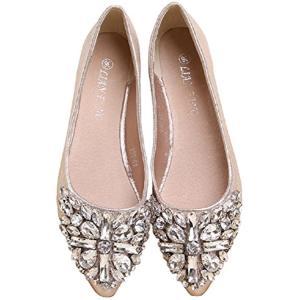 ビジュー キラキラ カワイイ シューズ パンプス 靴 クツ 可愛い カジュアル ファッション 女(ゴールド, 35(JPN:22.5cm))|sevenleaf