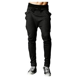ストレッチ トレーニング パンツ スリム スウェット ジム スポーツ ウェア メンズ[ブラック][XXL] sevenleaf