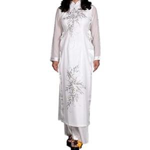 アオザイ ベトナム 民族 衣装 襟付き 長袖 レディース パンツ(ホワイト, XXXXL)|sevenleaf