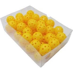 野球/ソフトボール バッティング 練習球 穴あき 42mm 50球 ティーバッティング トスバッティング ネット 打ち バット(黄色)